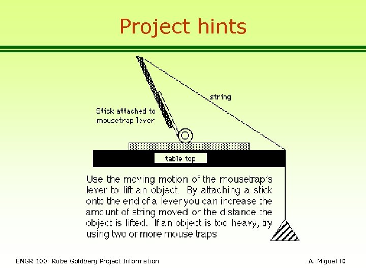Project hints ENGR 100: Rube Goldberg Project Information A. Miguel 10
