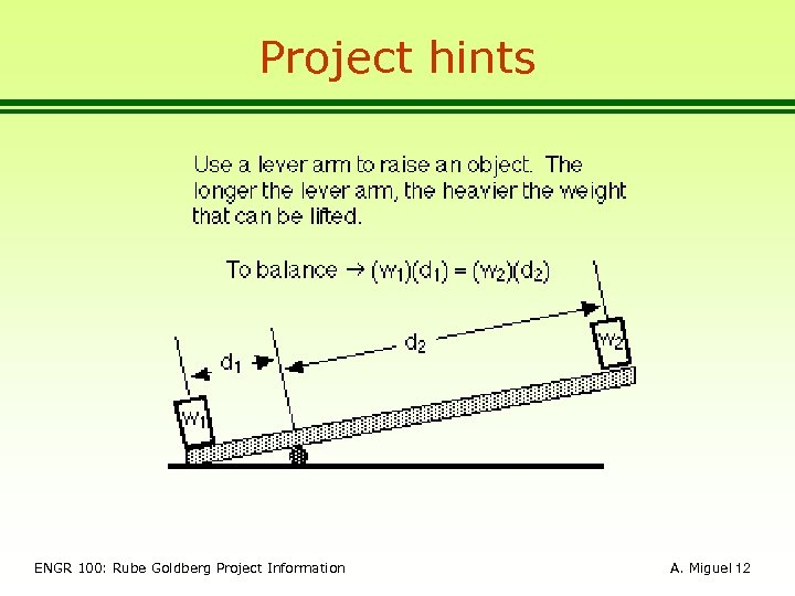 Project hints ENGR 100: Rube Goldberg Project Information A. Miguel 12
