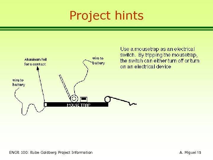 Project hints ENGR 100: Rube Goldberg Project Information A. Miguel 15