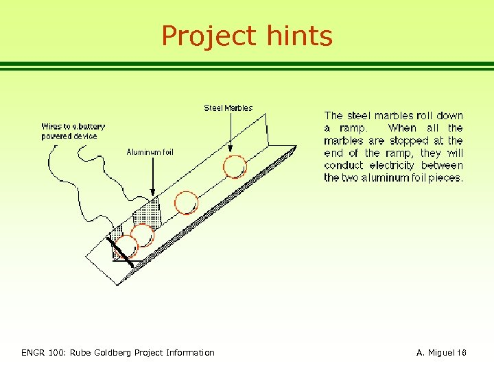 Project hints ENGR 100: Rube Goldberg Project Information A. Miguel 16