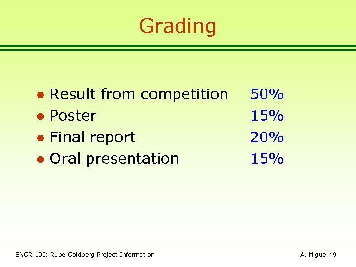 Grading l l Result from competition Poster Final report Oral presentation ENGR 100: Rube