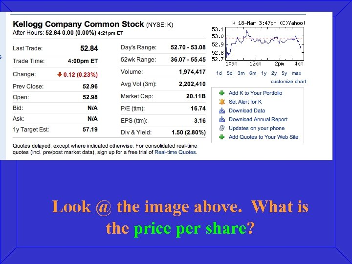 Look @ the image above. What is the price per share?