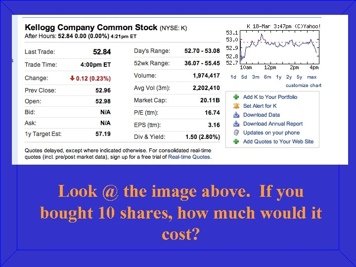 Look @ the image above. If you bought 10 shares, how much would it