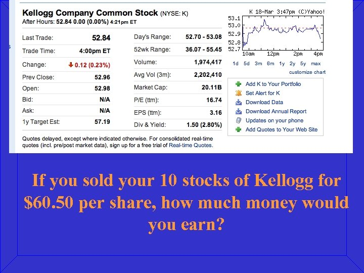 If you sold your 10 stocks of Kellogg for $60. 50 per share, how