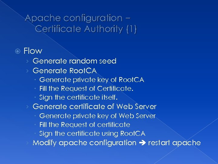 Apache configuration – Certificate Authority (1) Flow › Generate random seed › Generate Root.