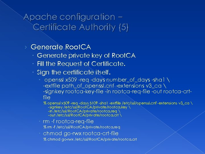 Apache configuration – Certificate Authority (5) › Generate Root. CA Generate private key of