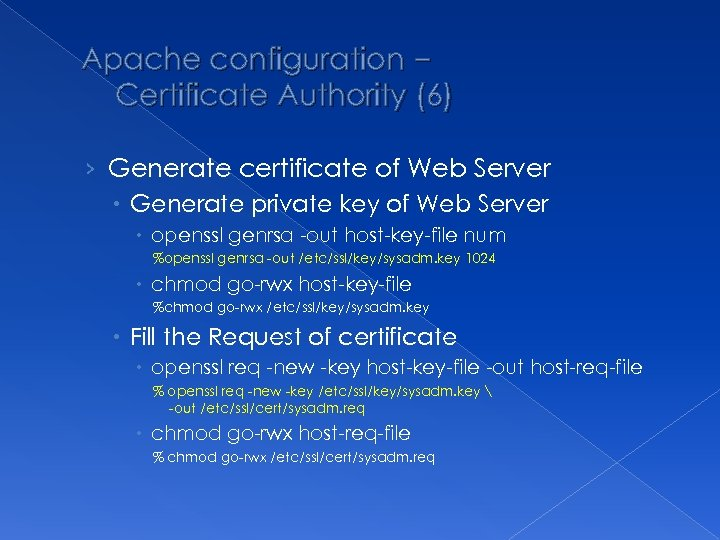 Apache configuration – Certificate Authority (6) › Generate certificate of Web Server Generate private