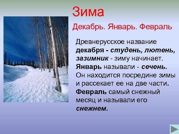 Зима Декабрь. Январь. Февраль Древнерусское название декабря - студень, лютень, зазимник - зиму начинает.