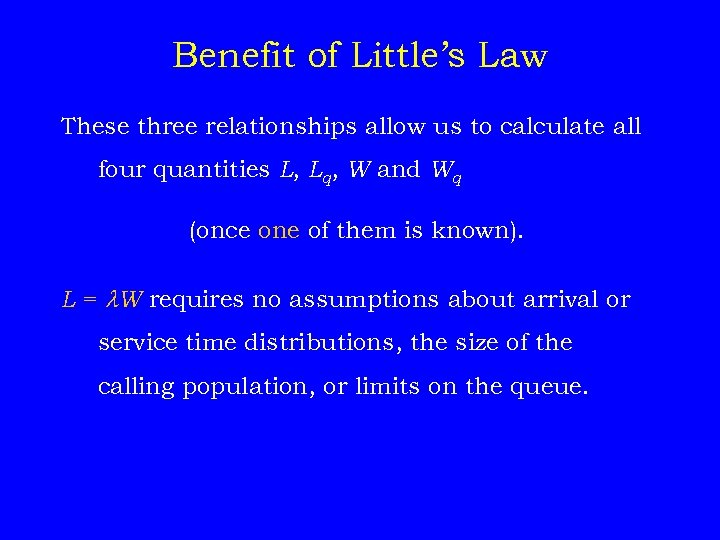 Benefit of Little's Law These three relationships allow us to calculate all four quantities
