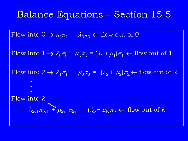 Balance Equations – Section 15. 5 Flow into 0 1 p 1 = 0