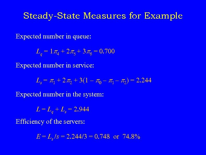Steady-State Measures for Example Expected number in queue: Lq = 1 p 4 +