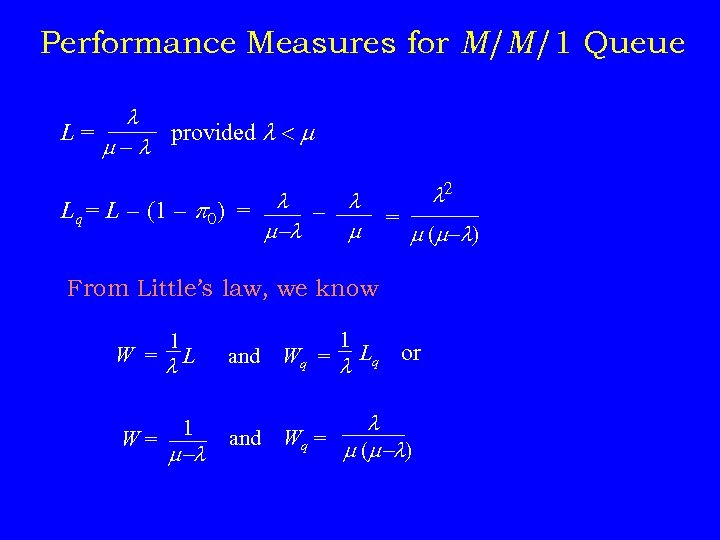 Performance Measures for M/M/1 Queue L= provided - Lq = L - (1 -