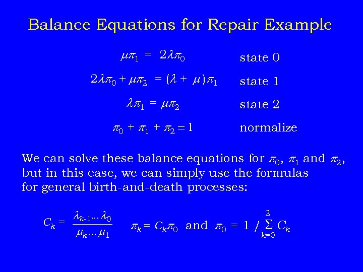 Balance Equations for Repair Example p 1 = 2 p 0 state 0 2