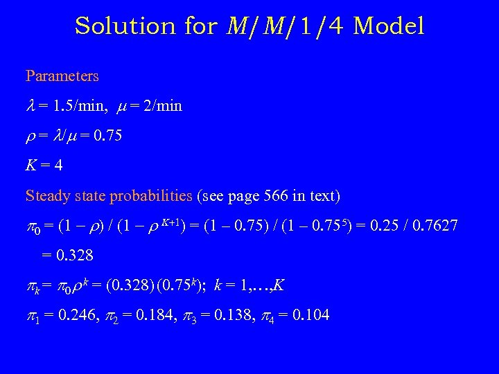 Solution for M/M/1/4 Model Parameters = 1. 5/min, = 2/min r = / =