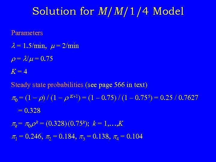 Solution for M/M/1/4 Model Parameters = 1. 5/min, = 2/min r = / =