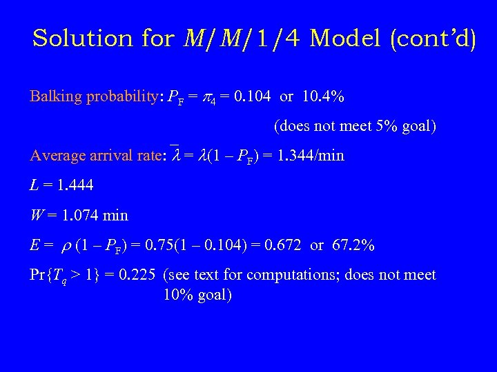 Solution for M/M/1/4 Model (cont'd) Balking probability: PF = p 4 = 0. 104