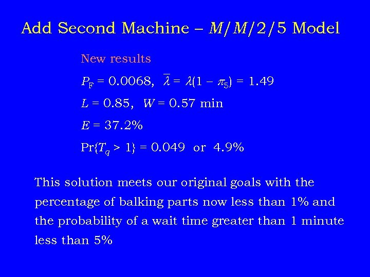 Add Second Machine – M/M/2/5 Model New results PF = 0. 0068, = (1