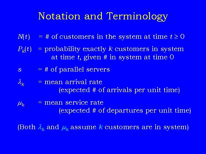 Notation and Terminology N(t ) = # of customers in the system at time