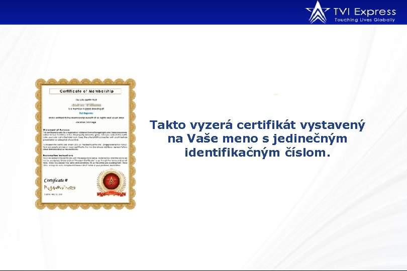 Takto vyzerá certifikát vystavený na Vaše meno s jedinečným identifikačným číslom.