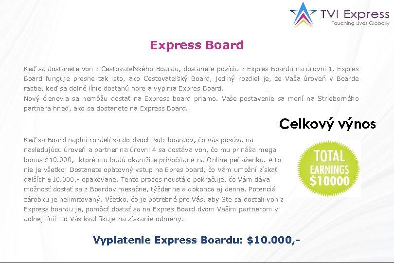 Express Board Keď sa dostanete von z Cestovateľského Boardu, dostanete pozíciu z Expres Boardu