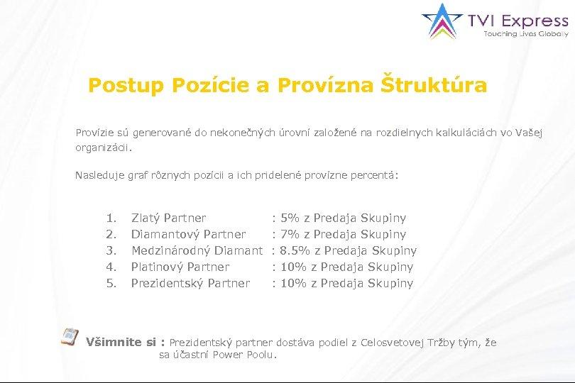Postup Pozície a Provízna Štruktúra Provízie sú generované do nekonečných úrovní založené na rozdielnych