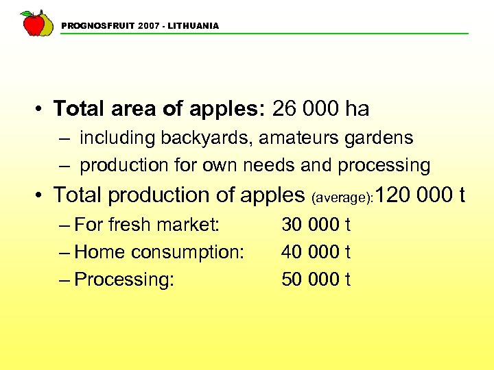 PROGNOSFRUIT 2007 - LITHUANIA • Total area of apples: 26 000 ha – including