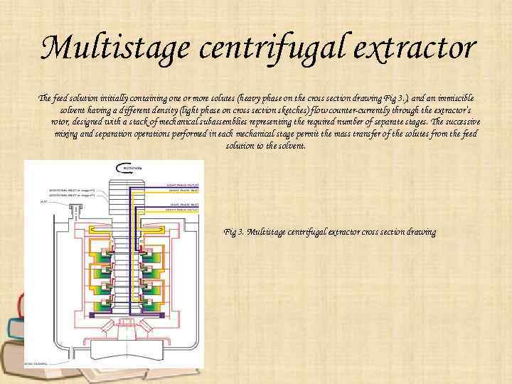 Multistage centrifugal extractor The feed solution initially containing one or more solutes (heavy phase