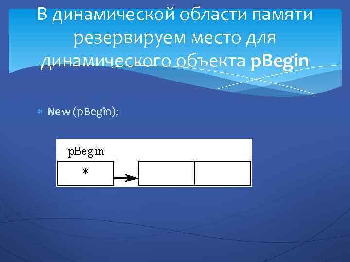 В динамической области памяти резервируем место для динамического объекта p. Begin New (p. Begin);