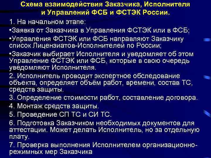 Схема взаимодействия Заказчика, Исполнителя и Управлений ФСБ и ФСТЭК России. 1. На начальном этапе: