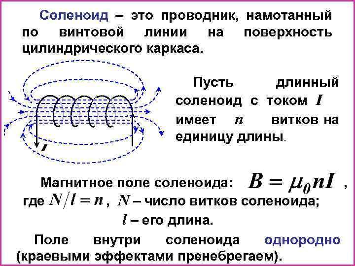 Соленоид – это проводник, намотанный по винтовой линии на поверхность цилиндрического каркаса. Пусть длинный