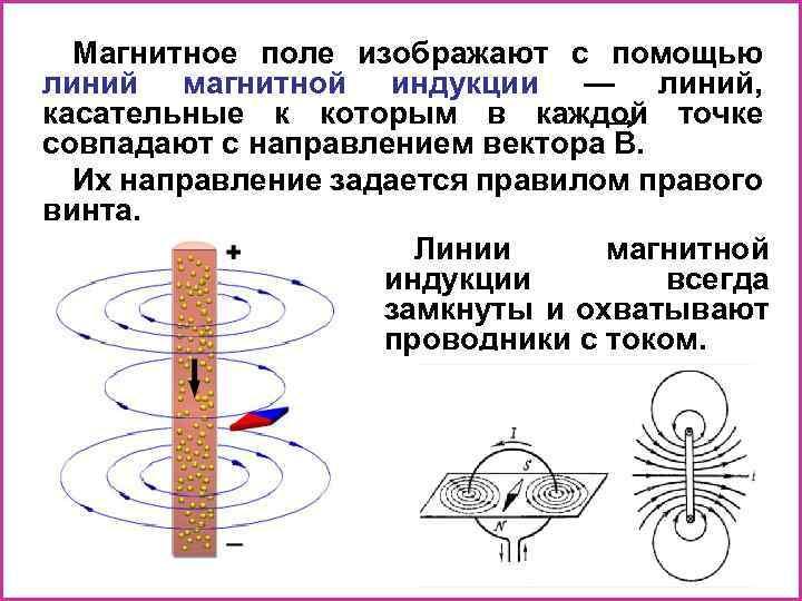 Магнитное поле изображают с помощью линий магнитной индукции — линий, касательные к которым в