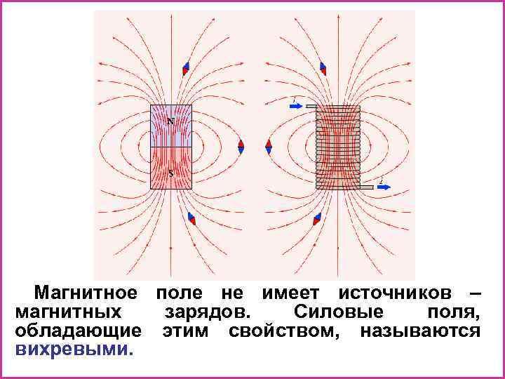 Магнитное поле не имеет источников – магнитных зарядов. Силовые поля, обладающие этим свойством, называются