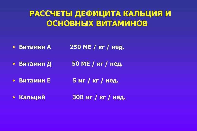 РАССЧЕТЫ ДЕФИЦИТА КАЛЬЦИЯ И ОСНОВНЫХ ВИТАМИНОВ • Витамин А 250 МЕ / кг /