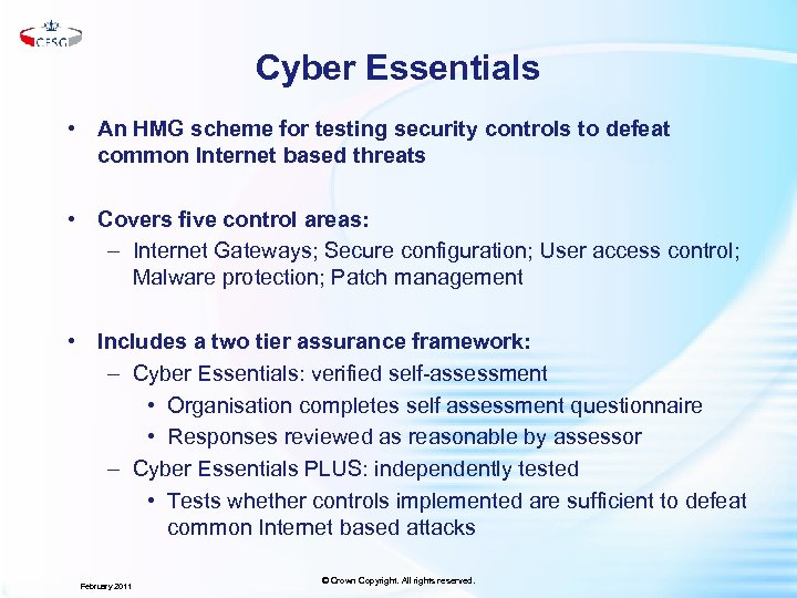 Cyber Essentials • An HMG scheme for testing security controls to defeat common Internet