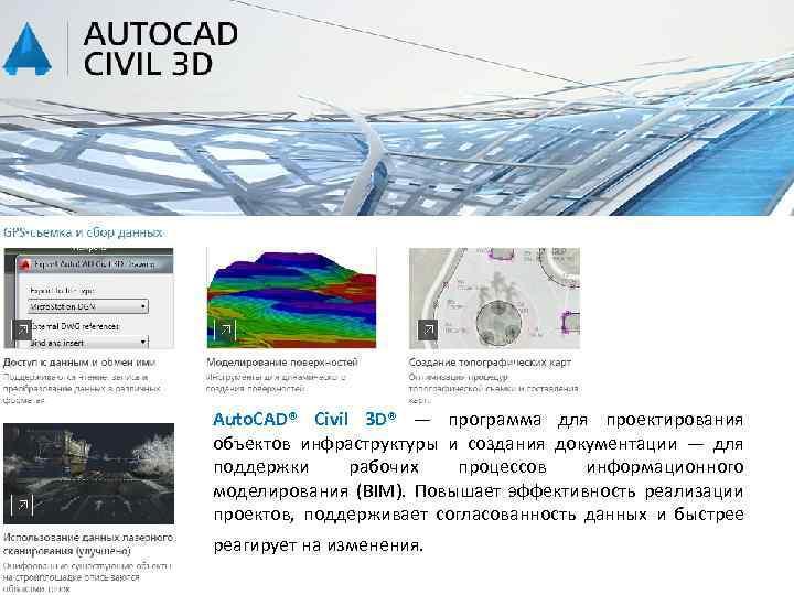 Auto. CAD® Civil 3 D® — программа для проектирования объектов инфраструктуры и создания документации