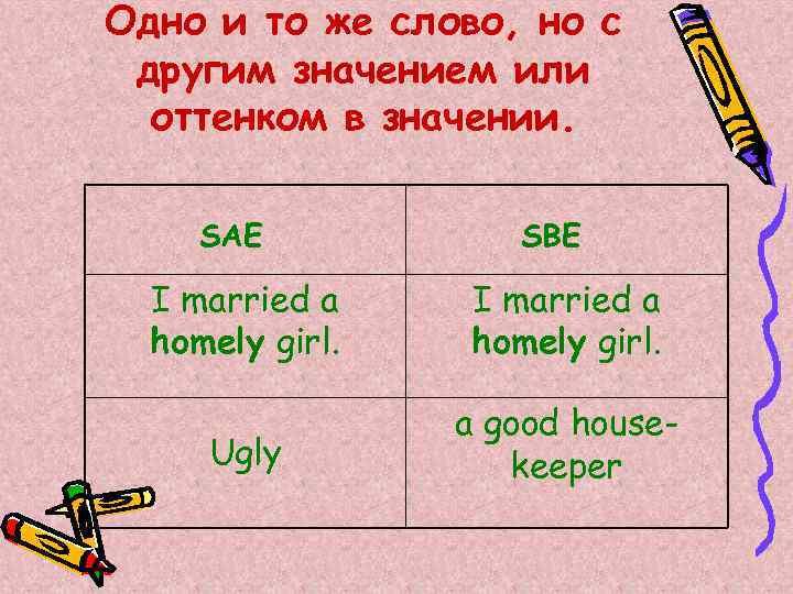 Одно и то же слово, но с другим значением или оттенком в значении. SAE