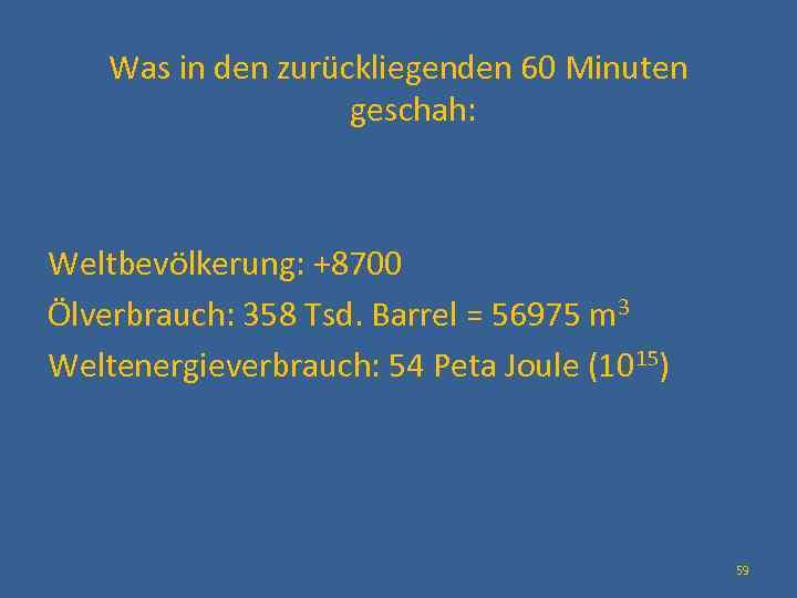 Was in den zurückliegenden 60 Minuten geschah: Weltbevölkerung: +8700 Ölverbrauch: 358 Tsd. Barrel =