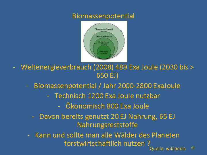 Biomassenpotential - Weltenergieverbrauch (2008) 489 Exa Joule (2030 bis > 650 EJ) - Biomassenpotential