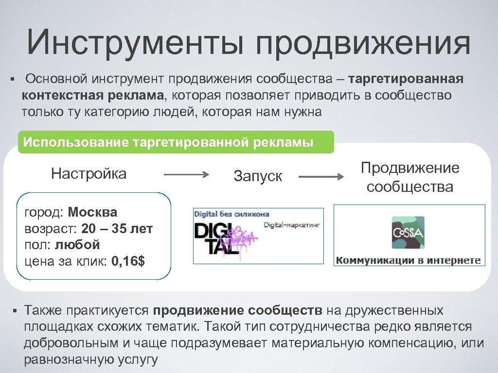 Инструменты продвижения § Основной инструмент продвижения сообщества – таргетированная контекстная реклама, которая позволяет приводить