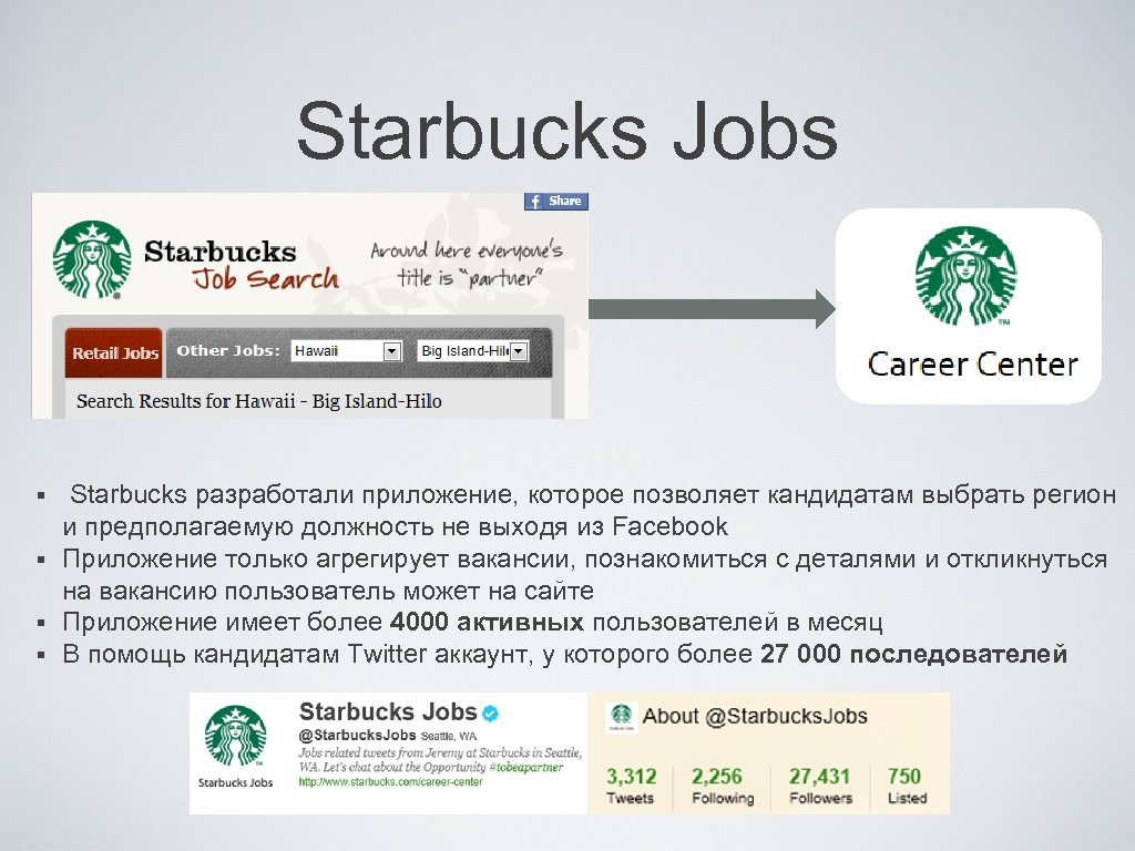 Starbucks Jobs Starbucks разработали приложение, которое позволяет кандидатам выбрать регион и предполагаемую должность не