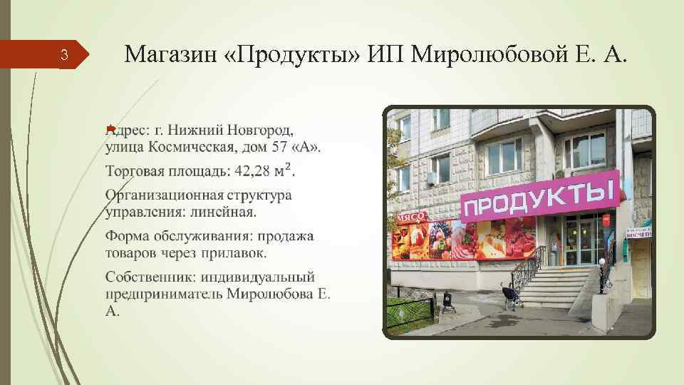 3 Магазин «Продукты» ИП Миролюбовой Е. А.