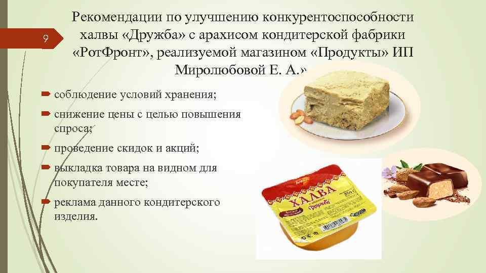 9 Рекомендации по улучшению конкурентоспособности халвы «Дружба» с арахисом кондитерской фабрики «Рот. Фронт» ,