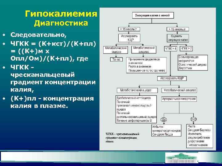 Гипокалиемия Диагностика • Следовательно, • ЧГКК = (К+кст)/(K+пл) = ((К+)м х Опл/Ом)/(K+пл), где •