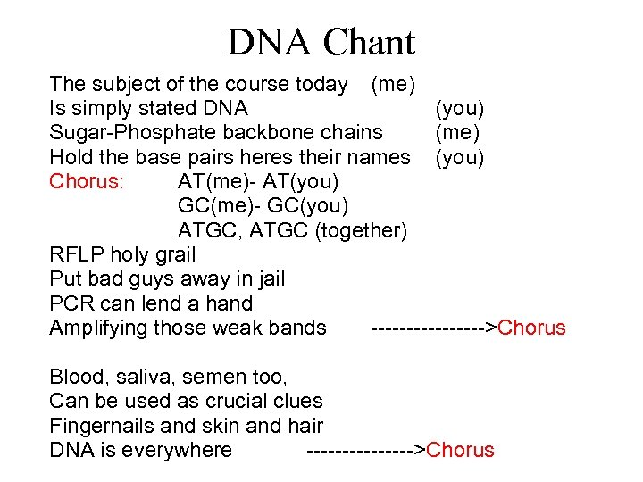 DNA Chant The subject of the course today (me) Is simply stated DNA (you)