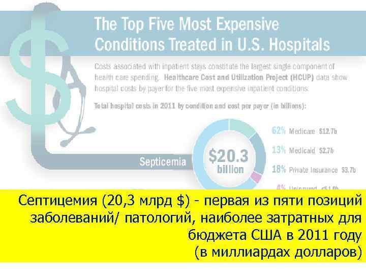 Септицемия (20, 3 млрд $) - первая из пяти позиций заболеваний/ патологий, наиболее затратных