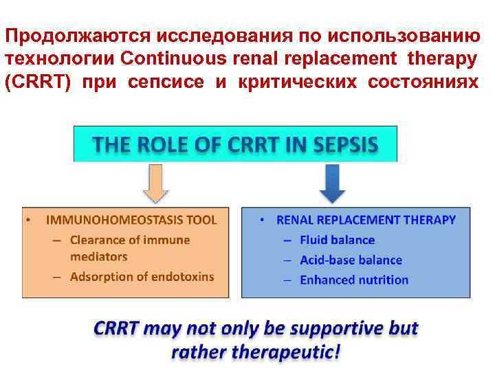 Продолжаются исследования по использованию технологии Continuous renal replacement therapy (CRRT) при сепсисе и критических