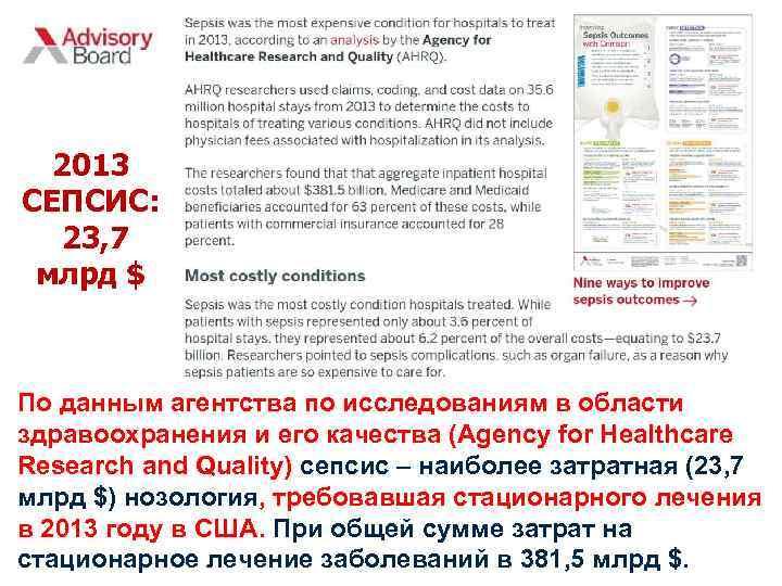 2013 СЕПСИС: 23, 7 млрд $ По данным агентства по исследованиям в области здравоохранения