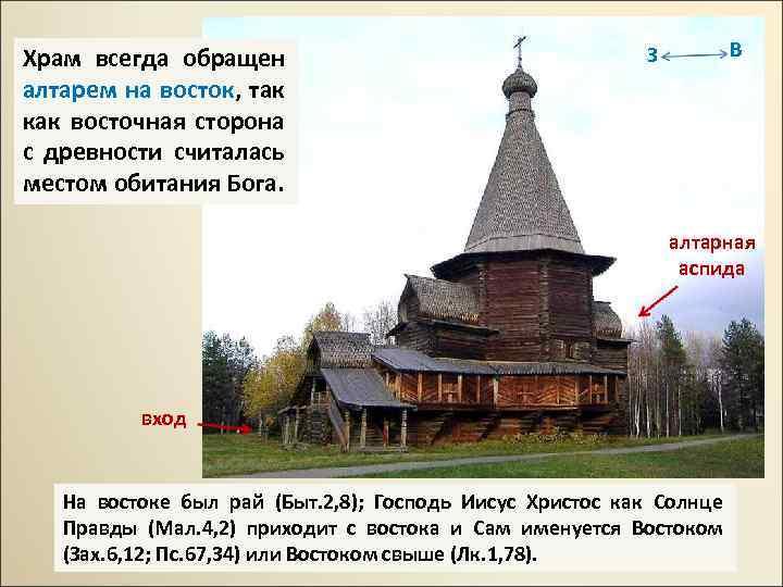 Храм всегда обращен алтарем на восток, так как восточная сторона с древности считалась местом