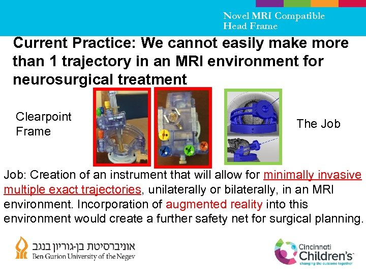 Novel MRI Compatible Head Frame Current Practice: We cannot easily make more than 1