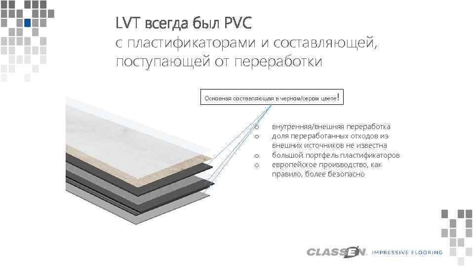 LVT всегда был PVC с пластификаторами и составляющей, поступающей от переработки ! Основная составляющая
